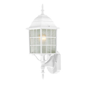Adams White Finish One Light Outdoor Wall Sconce with Frosted Glass