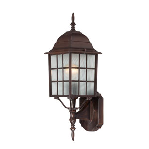 Adams Rustic Bronze Finish One Light Outdoor Wall Sconce with Frosted Glass