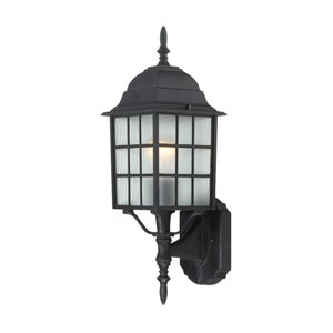Adams Textured Black Finish One Light Outdoor Wall Sconce with Frosted Glass