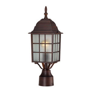Adams Rustic Bronze Finish One Light Outdoor Post Mount with Frosted Glass