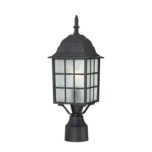 Adams Textured Black Finish One Light Outdoor Post Mount with Frosted Glass