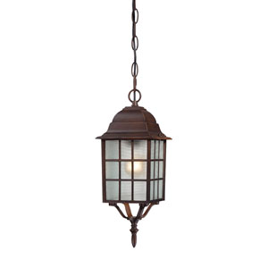 Adams Rustic Bronze Finish One Light Outdoor Hanging Pendant with Frosted Glass