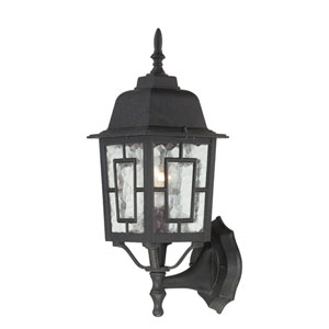 Banyon Textured Black Finish One Light Outdoor Wall Sconce with Clear Water Glass