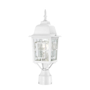 Banyon White Finish One Light Outdoor Post Mount with Clear Water Glass