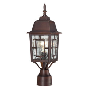 Banyon Rustic Bronze Finish One Light Outdoor Post Mount with Clear Water Glass