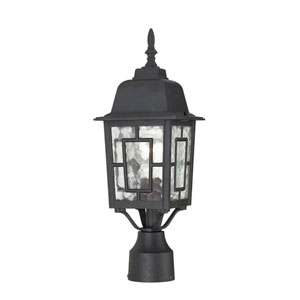 Banyon Textured Black Finish One Light Outdoor Post Mount with Clear Water Glass