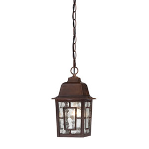 Banyon Rustic Bronze Finish One Light Outdoor Hanging Pendant with Clear Water Glass
