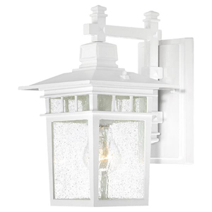 Cove Neck White Finish One Light Outdoor Wall Sconce with Clear Seeded Glass