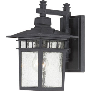 Cove Neck Textured Black Finish One Light Outdoor Wall Sconce with Clear Seeded Glass
