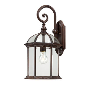 Boxwood Rustic Bronze Finish One Light Outdoor Wall Sconce with Clear Beveled Glass