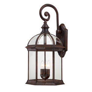 Boxwood Rustic Bronze Finish Three Light Outdoor Wall Sconce with Clear Beveled Glass