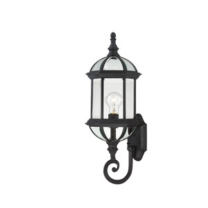 Boxwood Textured Black Finish One Light Outdoor Wall Sconce with Clear Beveled Glass