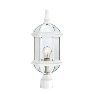 Boxwood White Finish One Light Outdoor Post Mount with Clear Beveled Glass