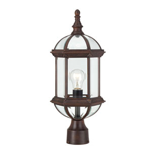 Boxwood Rustic Bronze Finish One Light Outdoor Post Mount with Clear Beveled Glass