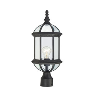 Boxwood Textured Black Finish One Light Outdoor Post Mount with Clear Beveled Glass