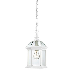 Boxwood White Finish One Light Outdoor Hanging Pendant with Clear Beveled Glass