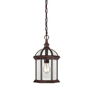 Boxwood Rustic Bronze Finish One Light Outdoor Hanging Pendant with Clear Beveled Glass