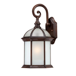 Boxwood Energy Star Rustic Bronze Finish One Light Outdoor Wall Sconce with Frosted Beveled Glass