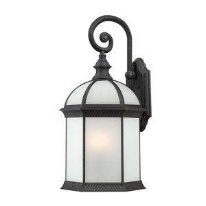 Boxwood Energy Star Textured Black Finish One Light Outdoor Wall Sconce with Frosted Beveled Glass