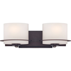 Loren Venetian Bronze Finish Two Light Vanity Fixture with Etched Opal Glass