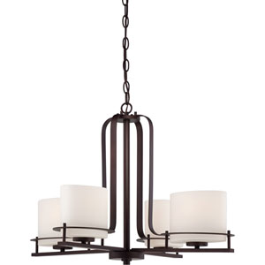 Loren Venetian Bronze Finish Four Light Chandelier with Etched Opal Glass