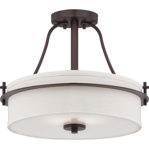 Loren Venetian Bronze Finish Two Light Semi Flush with White Linen Shade