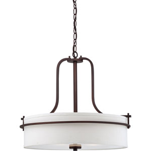 Loren Venetian Bronze Finish Three Light Pendant with White Linen Shade