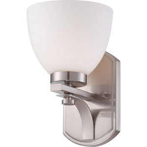 Bentlley Brushed Nickel Finish One Light Vanity Fixture with Frosted Glass