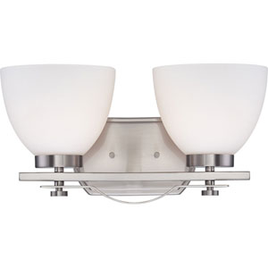 Bentlley Brushed Nickel Finish Two Light Vanity Fixture with Frosted Glass