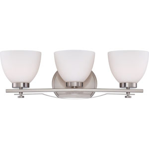 Bentlley Brushed Nickel Finish Three Light Vanity Fixture with Frosted Glass