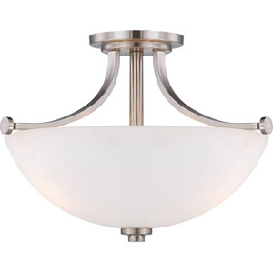 Bentley Brushed Nickel Finish Three Light Semi Flush with Frosted Glass
