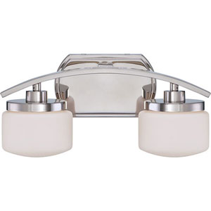 Austin Polished Nickel Finish Two Light Vanity Fixture with Etched Opal Glass