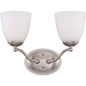Patton Brushed Nickel Finish Two Light Vanity Fixture with Frosted Glass