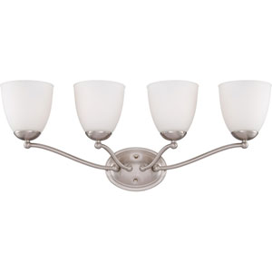 Patton Brushed Nickel Finish Four Light Vanity Fixture with Frosted Glass