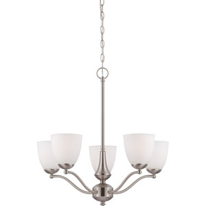 Patton Brushed Nickel Finish Five Light Chandelier (Arms Up) with Frosted Glass