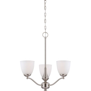 Patton Brushed Nickel Finish Three Light Chandelier (Arms Up) with Frosted Glass