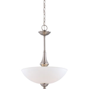 Patton Brushed Nickel Finish Three Light Pendant with Frosted Glass