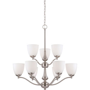 Patton Brushed Nickel Finish Nine Light Two-Tier Chandelier with Frosted Glass