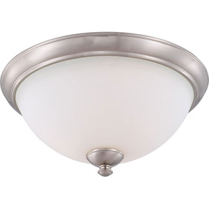 Patton Brushed Nickel Finish Three Light Flush Fixture with Frosted Glass