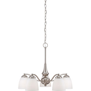 Patton Brushed Nickel Finish Five Light Chandelier (Arms Down) with Frosted Glass