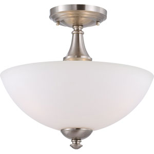 Patton Brushed Nickel Finish Three Light Semi Flush with Frosted Glass