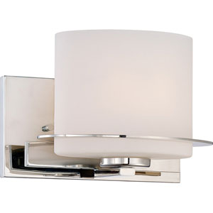 Loren Polished Nickel Finish One Light Vanity Fixture with Etched Opal Glass