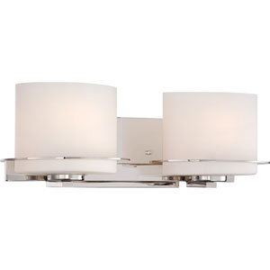Loren Polished Nickel Finish Two Light Vanity Fixture with Etched Opal Glass