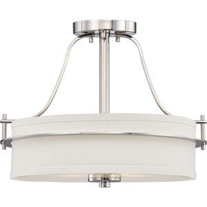 Loren Polished Nickel Finish Two Light Semi Flush with White Linen Shade