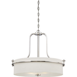 Loren Polished Nickel Finish Three Light Pendant with White Linen Shade