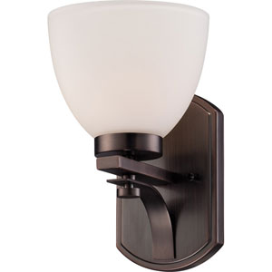 Bentlley Hazel Bronze Finish One Light Vanity Fixture with Frosted Glass