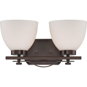 Bentlley Hazel Bronze Finish Two Light Vanity Fixture with Frosted Glass