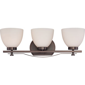 Bentlley Hazel Bronze Finish Three Light Vanity Fixture with Frosted Glass