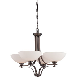 Bentley Hazel Bronze Finish Four Light Chandelier with Frosted Glass