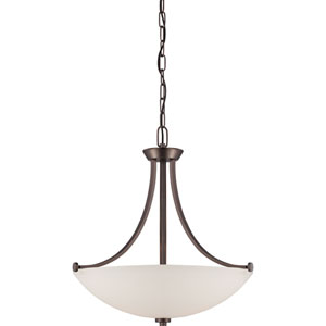 Bentley Hazel Bronze Finish Three Light Pendant with Frosted Glass